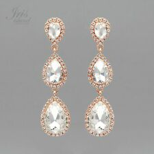 ROSE GOLD Plated Clear Crystal Rhinestone Wedding Drop Dangle Earrings 157 Party