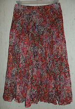 NWT WOMENS christopher & banks FLORAL BROOMSTICK BOHO LINED FULL SKIRT  SIZE S