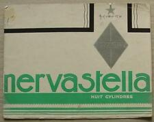 RENAULT NERVASTELLA 8 CYLINDER Car Sales Brochure c1930 #V21 2/30 FRENCH TEXT
