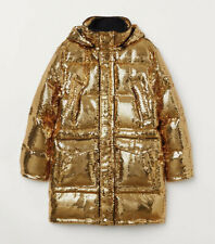 Moschino H&M H&MOSCHINO⚡️SOLD OUT Gold metallic sequin puffer parka coat size L