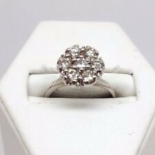 Diamond Flower Cluster Ring - White Gold - 18ct - (4606)