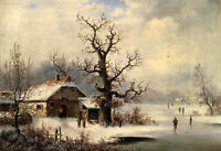 Oil painting old village winter landscape with skater on the ice canvas