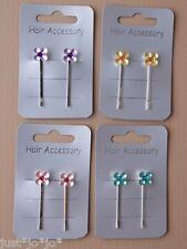 Daisy Flower Hair Clip x2 Kirby Grip 4cm Girls Pink Lilac Gold Green (202)