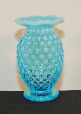 Fenton Blue Hobnail Vase over 3 inches tall (5584)