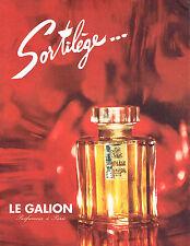 PUBLICITE ADVERTISING  1964   LE GALION  parfum  SORTILEGE