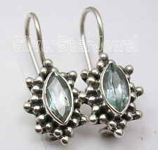 "Antique Look French Wire Earrings 0.9"" 925 Sterling Silver Faceted Blue Topaz"