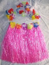 KIDS SIZE HAWAIIAN HULA PINK SKIRT PARTY SET new childrens luau bracelet hat kid