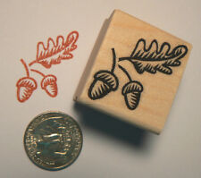 P24 Acorn with leaves miniature rubber stamp