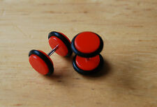 Red barbell fake plug tunnel streacher single earring acrylic rubber 8 MM