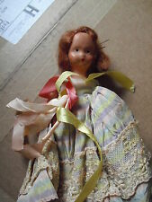"""Vintage Porcelain Bisque Red Head Girl Character Doll 6"""" Tall"""