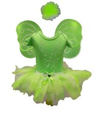 TINKERBELL FAIRY FANCY DRESS TUTU SKIRT RHINESTONE WING TOP BABY TODDLER CHILD