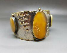 Brass Genuine Big Natural Baltic Amber Bracelet Handmade
