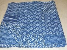 INDIAN KANTHA QUILT INDIGO BLUE COTTON PATCHWORK BLANKET  TWIN SIZE  150X220CMS.