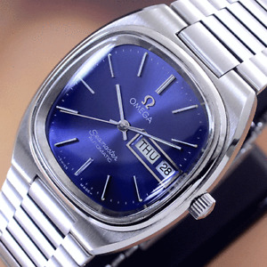 VINTAGE OMEGA SEAMASTER AUTOMATIC BLUE DIAL DAY&DATE DRESS MEN'S WATCH