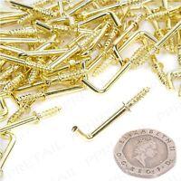 100x SMALL 19mm DRESSER HOOK Brass Strong Metal Shoulder Flush Fit Cup/Key L Peg