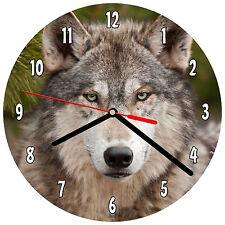 "8"" WALL CLOCK - Wolf 2 Wolves Spiritual - Kitchen Office Bathroom Bar Bedroom"