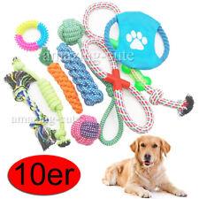 10x Hunde Spielzeug aus Seil Set Kauspielzeug Zahnpflege Frisbee Ball Spieltau