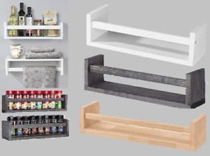 Wooden Spice Jar Rack Wall Mounted Float Shelves Book Case Display Storage Shelf
