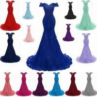 Womens Mermaid Off Shoulder Lace Bridesmaid Prom Party Dress Formal Evening Gown