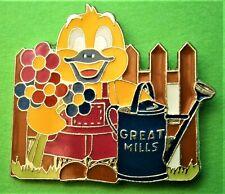 F628*) Enamel Great mills yellow gardening Duck brooch tie lapel pin badge