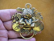 (E-585) Cupid cherub with bow arrows violin brass Eyeglass pin pendant ID holder