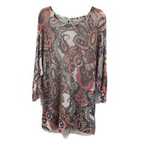 Chicos 4 Knit Top Tunic 3/4 Sleeve XXL 20 Multicolor Paisley
