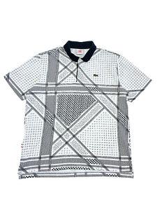 Lacoste Live Bandana Printed Polo Shirt Size 6 L-XL White-Black