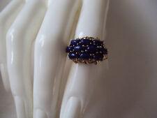 Lapis Lazuli gold over platinum bond brass ring size 5 MST1177