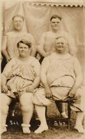 FOUR CIRCUS FAT MEN Rare Antique FREAK PHOTO 1910 Sideshow History OBESE FAMILY