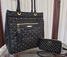 Betsey Johnson Houdini Tote Studded Hearts Black Crossbody Wallet 2 bags! NWT