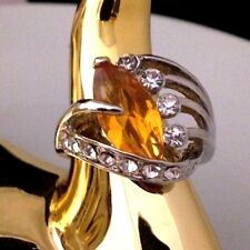 Vintage Cocktail Ring Citrine Glass Crystal Accents Rhodium Plate Costume 7