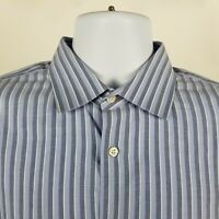 Neiman Marcus Mens Blue White Striped Dress Button Shirt Sz 16.5 36/37