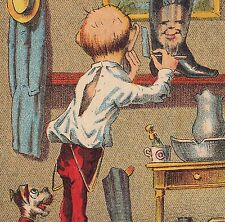 Jacquot French Blacking Shoe Polish dog Barber Boot Shave Advertising Trade Card