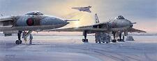 Philip E West print The Persuaders signed by 5 veteran RAF Avro Vulcan pilots