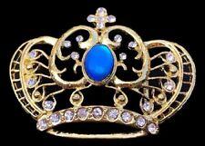 GOLDEN ROYAL CROWN BLUE STONES ROYALTY BELT BUCKLE BUCKLES BOUCLE DE CEINTURE