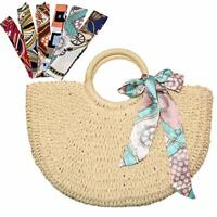 Women Wicker Handbag Totes Beach Straw Woven Summer Rattan Basket Shopping Bag