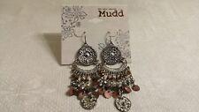 Mudd Silvertone Metal Filigree Amber Copper Drop Dangle Wire Pierced Earrings