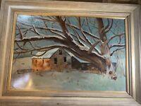 "Huge Greenfield ""Winter Landscape In Winter Scene"" Oil Painting - Signed/Framed"