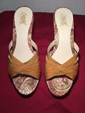 Sz 10 M Carlos Santana Essence Gold Ribbon Criss Cross Jute Wedge Sandals