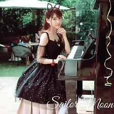 Women's  Sailor Moon Luna Cat Dress Off Shoulder Sexy Black White Dress Lolita