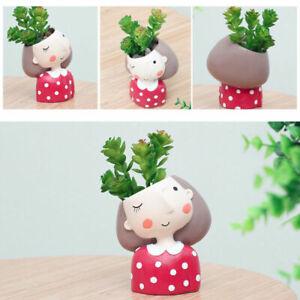 4x Creative Lovely Girl Design Mini Succulent Planter Flower Pot Cute Great Gift