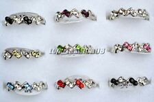 Wholesale Lots 10pcs CZ Rhinestone Silver Plated Wedding Rings Jewelry FREE