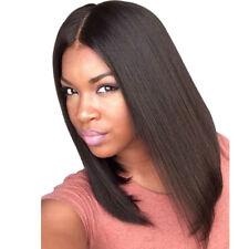 Mode Moyen Tout Droit Milieu Partie Noir Femmes Cheveux Perruque Perruques Plein