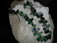 """RUBY IN ZOISITE PETALS AND STERLING SILVER 16""""-18"""" NECKLACE"""