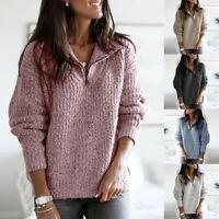 New Women Winter Knitwear Knitted Zipper Sweater Lapel Pullover Casual Warm