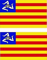Set of 2x sticker vinyl car bumper decal sicilian independance sicily flag
