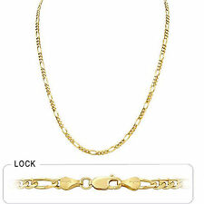 "3.80 mm 18"" 11.50 gm Solid 14k Gold Yellow Women's Men's Figaro Chain Necklace"