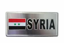 SYRIA COUNTRY FLAG-SILVER LICENSED STICKER FLAG PLATE..SIZE: 6 X 3 INCH