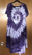 LuLaRoe Womens Maria Maxi Dress L Cotton Tie Dye Purple White Long High Low EUC