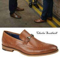 Mens Lace Up Brogue Faux Leather Chain Trim Formal Shoes Size UK 7 8 9 10 11 12